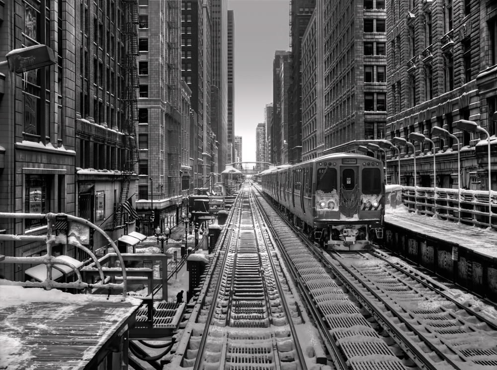 Randolph el station black and white photo