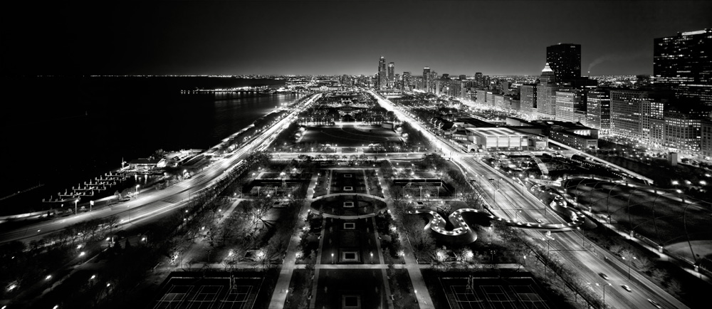Millennium park night black and white photo