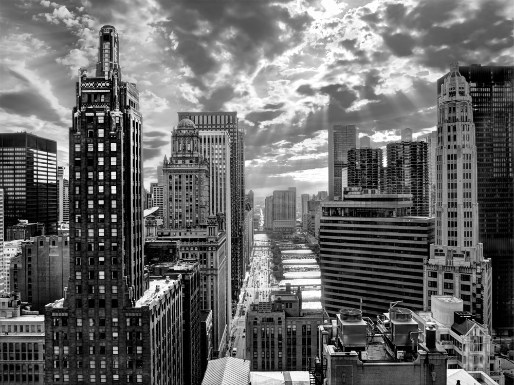 Wacker drive black and white photo